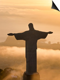 Statue of Jesus, known as Cristo Redentor (Christ the Redeemer), on Corcovado Mountain in Rio De Ja Prints by Peter Adams