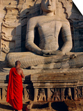 Monk in Front of the Seated Buddha Statue, Gol Vihara, Polonnaruwa, Sri Lanka, Asia Poster by Bruno Morandi