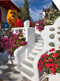 Stairs and Flowers, Chora, Mykonos, Greece Print by Adam Jones
