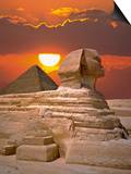 Sphinx and Pyramid at Sunset Prints