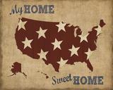 My Home Sweet Home USA Map Kunst av  Sparx Studio