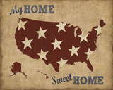 My Home Sweet Home USA Map Art by  Sparx Studio