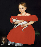 Girl in Red Dress with Cat and Dog, 1830-1835 Art by Ammi Phillips