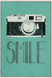 Smile Retro Camera Plastic Sign Wall Sign