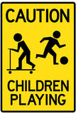 Caution Children Playing Plastic Sign Wall Sign