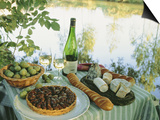 Food and Wine on a Table Beside the River Loire, France Posters by John Miller