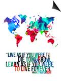 World Map Quote Mahatma Gandi Poster by  NaxArt