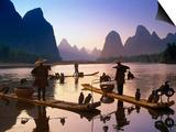 La pêche aux cormorans, Chine Posters par Peter Adams