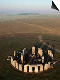 Aerial View of Stonehenge, Unesco World Heritage Site, Salisbury Plain, Wiltshire, England Prints by Adam Woolfitt