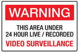 Warning Area Under Video Surveillance Plastic Sign Plastic Sign