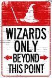 Wizards Only Beyond This Point Sign Plastic Sign Plastic Sign