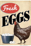 Fresh Eggs Chicken Hen Plastic Sign Wall Sign