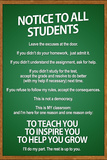 Notice to all Students Classroom Rules Plastic Sign Wall Sign