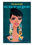 Travel Europe Woman Print by Michael Crampton