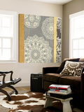 Contemporary Lace II - Yellow Grey Prints by Moira Hershey
