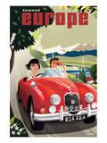 Travel Europe, Red Jaguar Prints by Michael Crampton