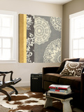 Contemporary Lace I - Yellow Grey Print by Moira Hershey