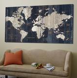 Old world map blue Art