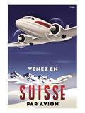 Venez en Suisse par Avion Print by Michael Crampton