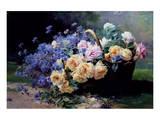 Un Panier de Fleurs Print by Albert Tibulle de Furcy Lavault