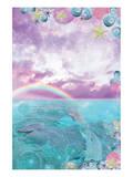 Aqua Dolphin Prints by Alixandra Mullins