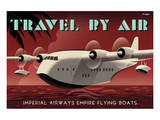 Travel By Air, Imperial Airways Empire Flying Boat Art by Michael Crampton