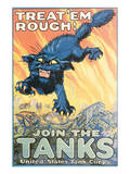 Treat'Em Rough! Join The Tanks Posters by August Hutof
