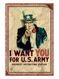 Uncle Sam: I Want You For U.S. Army - Vintage Plakater
