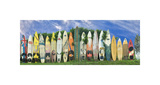 Surfboard Fence Giclee Print by Dennis Frates