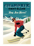 Mont Blanc, Chamonix, You Are Here! Print by Michael Crampton