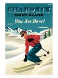 Mont Blanc, Chamonix, You Are Here! Art par Michael Crampton