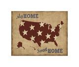 My Home Sweet Home USA Map Giclee Print by  Sparx Studio