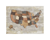 Wood Map Giclee Print by  Sparx Studio