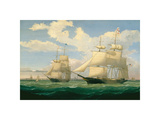 "The Ships ""Winged Arrow"" and ""Southern Cross"" in Boston Harbor, 1853 Giclee Print by Fitz Hugh Lane"