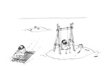 A man on a raft paddles away from a desert island with a tree stump, and p… - New Yorker Cartoon Premium Giclee Print by Edward Steed