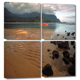 Hanalei Bay at Dawn 4 piece gallery-wrapped canvas Print by Kathy Yates