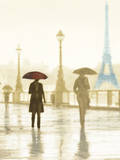 Paris Red Umbrella - Golden Giclee Print by Robert Canady