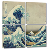 The Great Wave Off Kanagawa 4 piece gallery-wrapped canvas Gallery Wrapped Canvas Set by Katsushika Hokusai