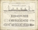 Titanic Blueprint Vintage I Wydruk giclee autor The Vintage Collection