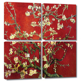 Interpretation in Red Almond Blossom 4 piece gallery-wrapped canvas Posters by Vincent van Gogh