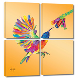 Humming 4 piece gallery-wrapped canvas Prints by Linzi Lynn