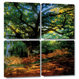 Bodmer at Oak at Fountainbleau 4 piece gallery-wrapped canvas Art by Claude Monet