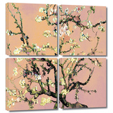 Interpretation in Eggshell Almond Blossom 4 piece gallery-wrapped canvas Posters by Vincent van Gogh