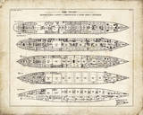 Titanic Blueprint Vintage II Giclee Print by  The Vintage Collection