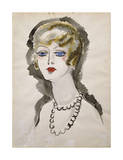 Woman with Pearls Premium Giclee Print by Kees van Dongen