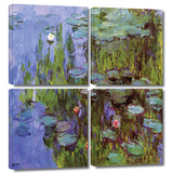 Sea Roses 4 piece gallery-wrapped canvas Gallery Wrapped Canvas Set by Claude Monet