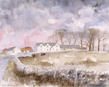 Lowland Farm Giclee Print by Richard Akerman