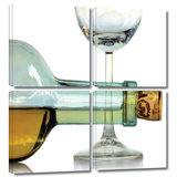 Bottle Plus Glass 4 piece gallery-wrapped canvas Gallery Wrapped Canvas Set by Dan Holm
