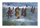 Sea Bathers Maracus Premium Giclee Print by Boscoe Holder
