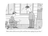 """""""Here's where all the worries of the world have been seeping into your hom - New Yorker Cartoon Premium Giclee Print by Peter C. Vey"""